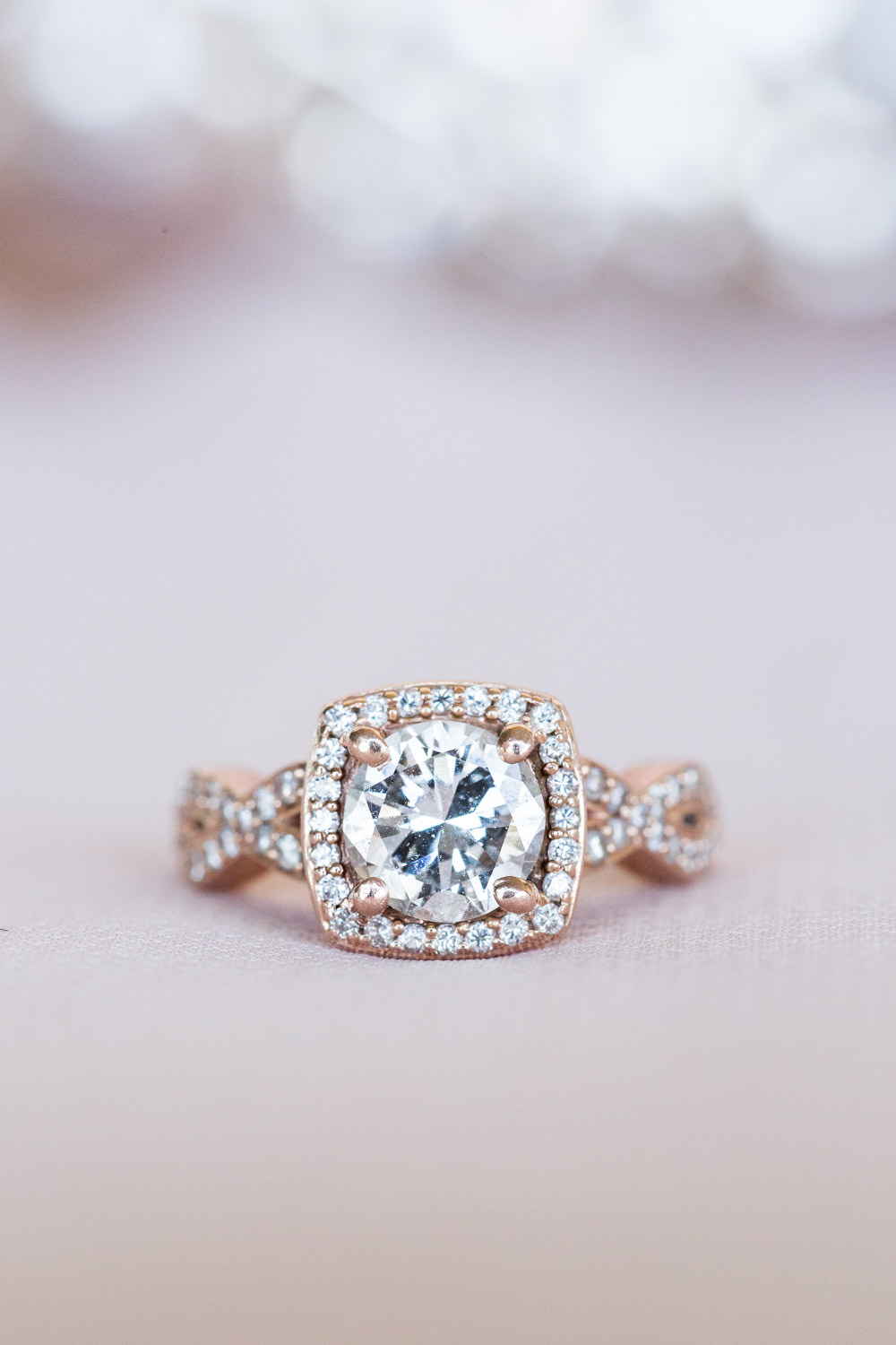 Rose gold square halo with round engagement ring, Cavin Elizabeth Photography