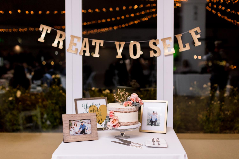 Treat Yo Self sign at Indian Wells Golf Resort wedding cake cutting, Cavin Elizabeth Photography