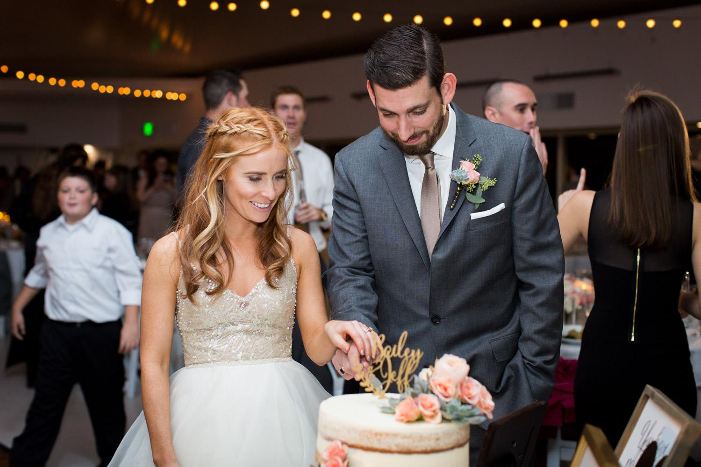Indian Wells Golf Resort wedding cake cutting, Cavin Elizabeth Photography