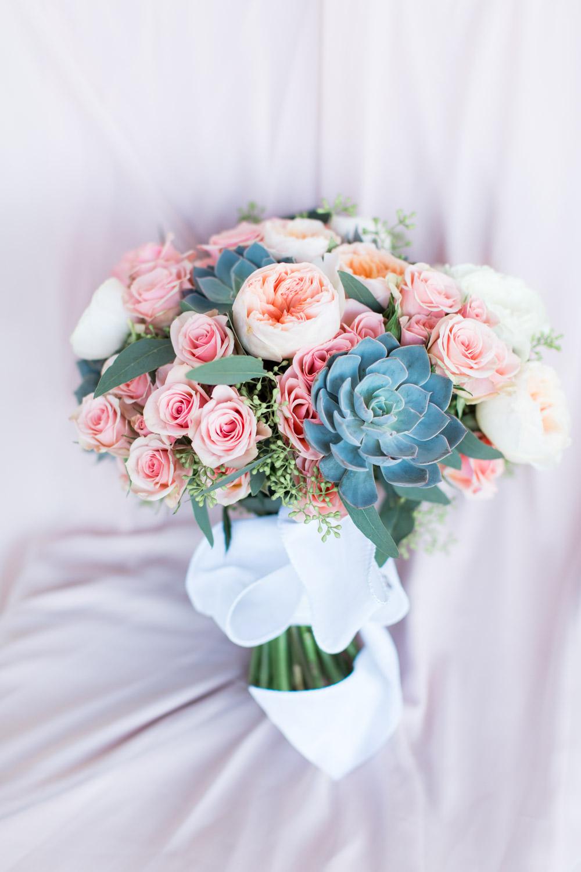 Succulent pink green bridal bouquet