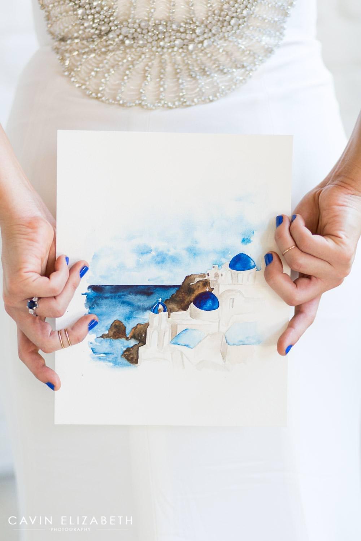 santorini greece watercolor blue and white