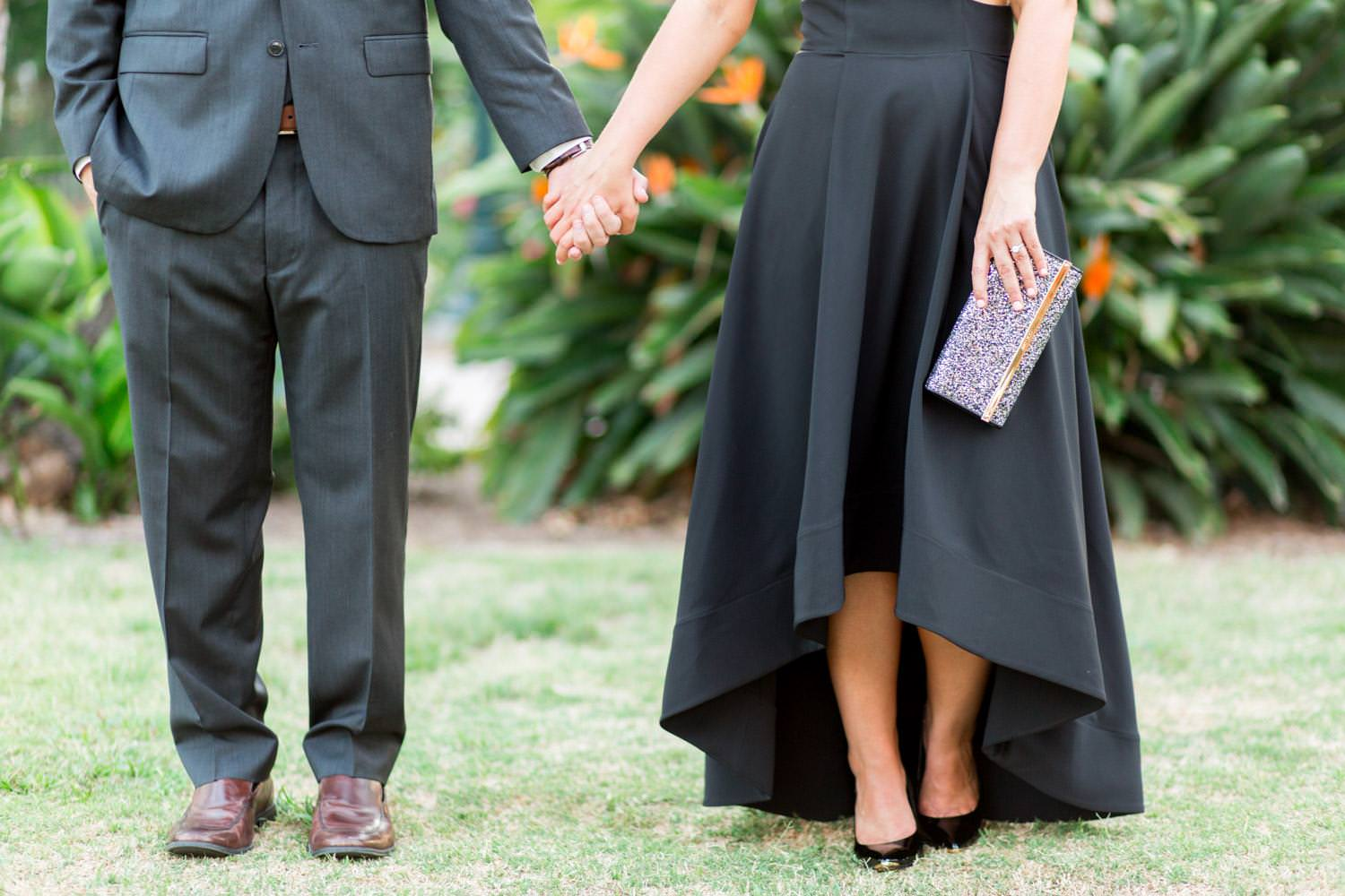 Sophisticated and chic formal engagement session outfit inspiration and ideas, Black gown and suit with Jimmy Choo black glitter clutch and black Ted Baker pumps for an engagement session in Balboa Park, Cavin Elizabeth Photography