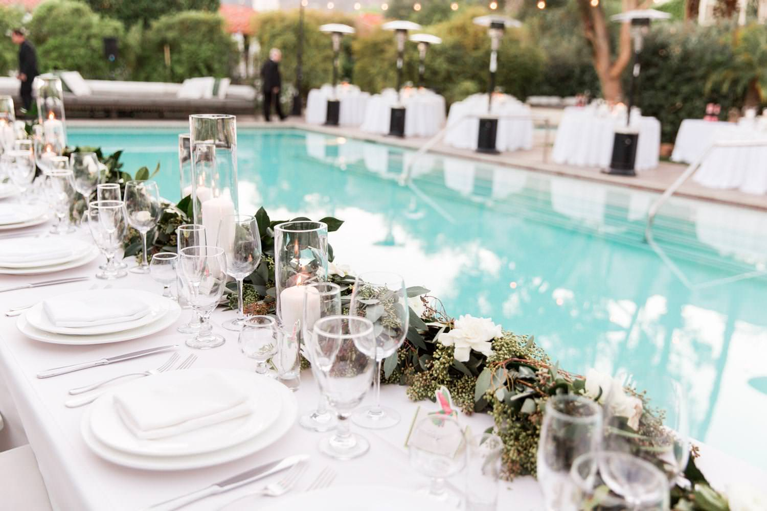 Colony Palms Hotel Wedding Palm Springs reception by the pool, Cavin Elizabeth Photography