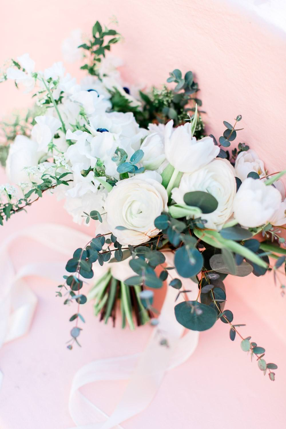 Gorgeous white ranuncula and anemone white and green bouquet from Adorations in San Diego, Cavin Elizabeth Photography