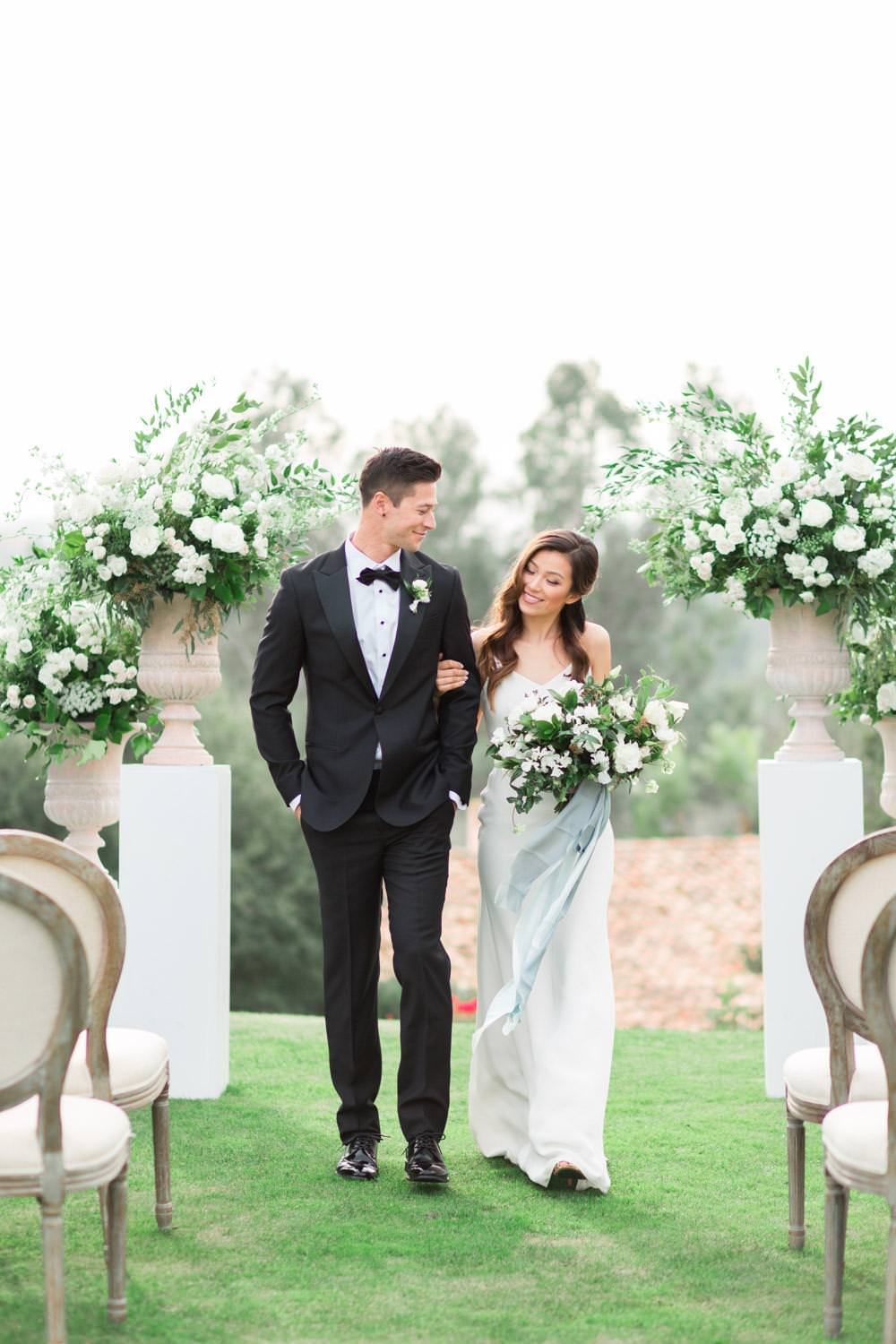 Rancho Valencia Wedding Photography by Cavin Elizabeth, ceremony bride and groom walking down the aisle