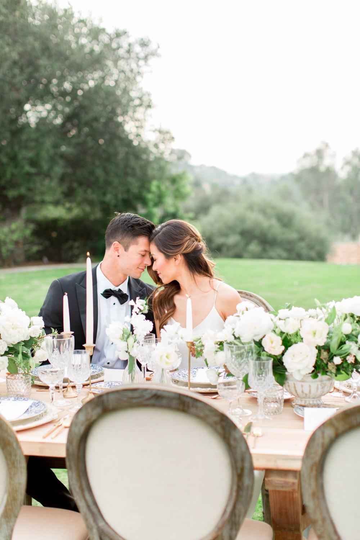Rancho Valencia Wedding Photography by Cavin Elizabeth, bride and groom portrait at the reception table