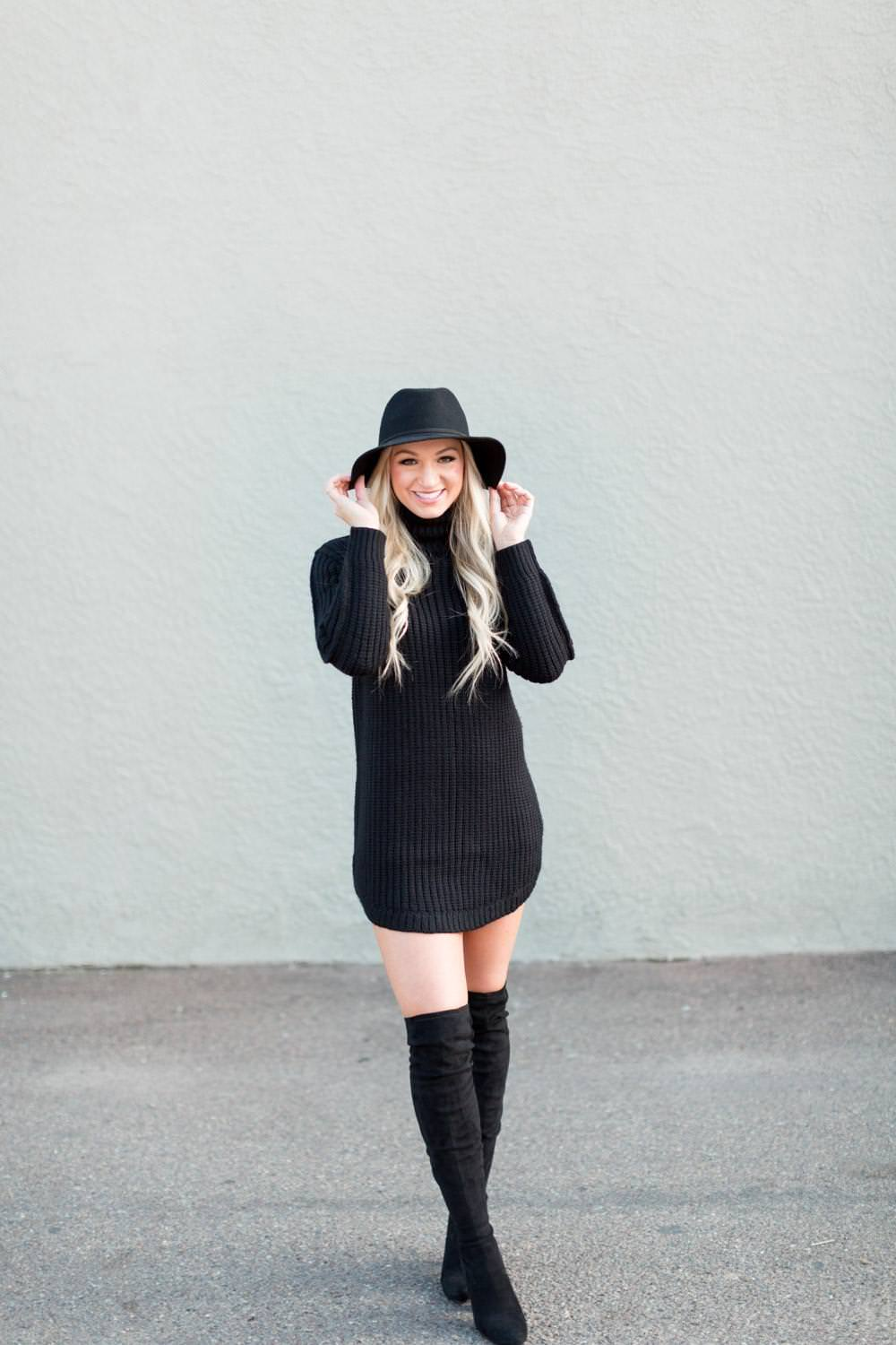 San Diego Fashion Photographer North Park shoot, lifestyle street fashion photography inspiration, black sweater dress with thigh black boots and black hat