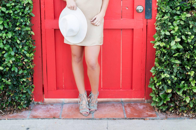 San Diego Fashion Photographer North Park shoot, lifestyle street fashion photography inspiration, chic beige slip dress with white hat