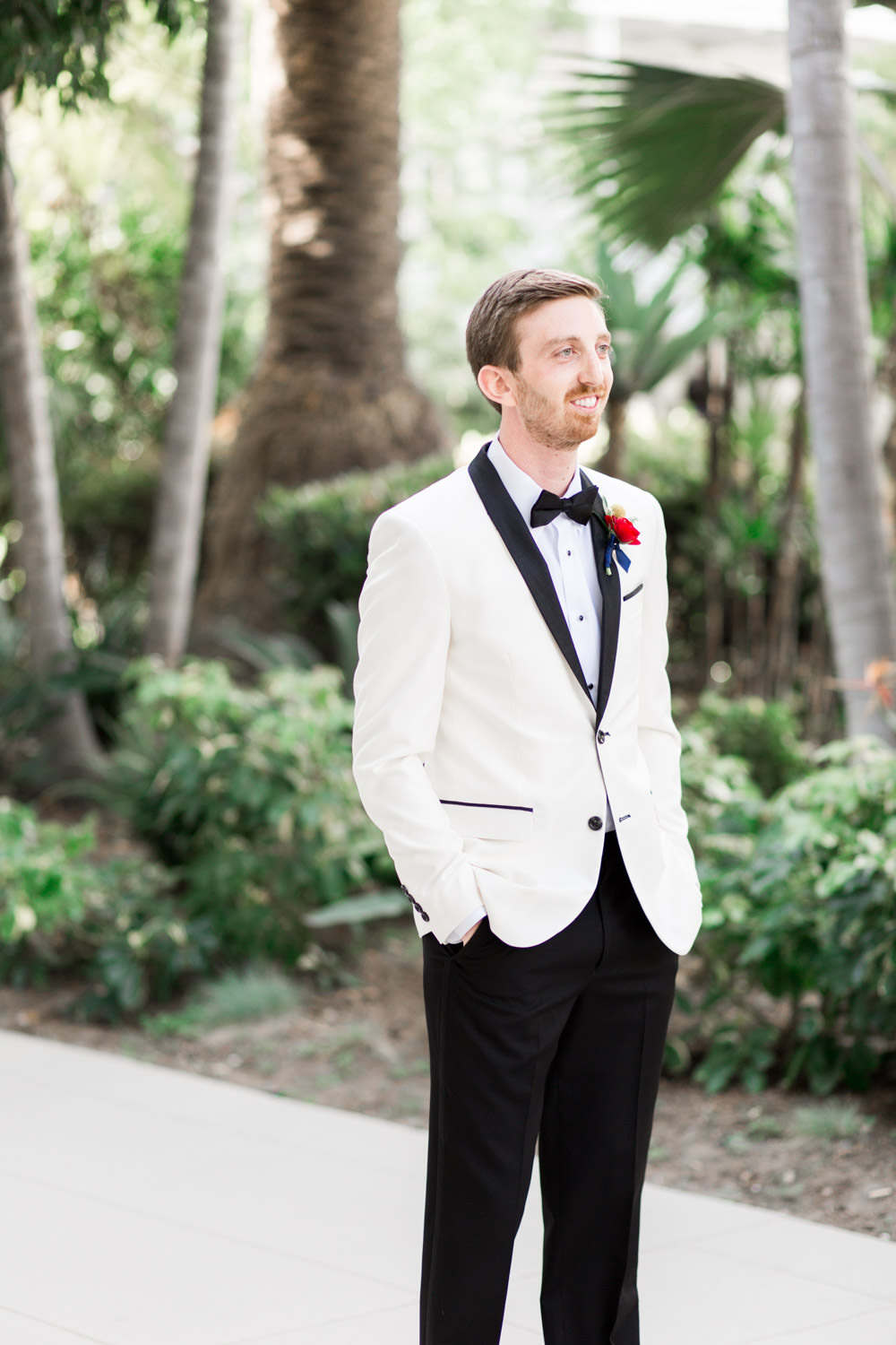 Hotel del Coronado wedding first look of the groom waiting, Cavin Elizabeth Photography