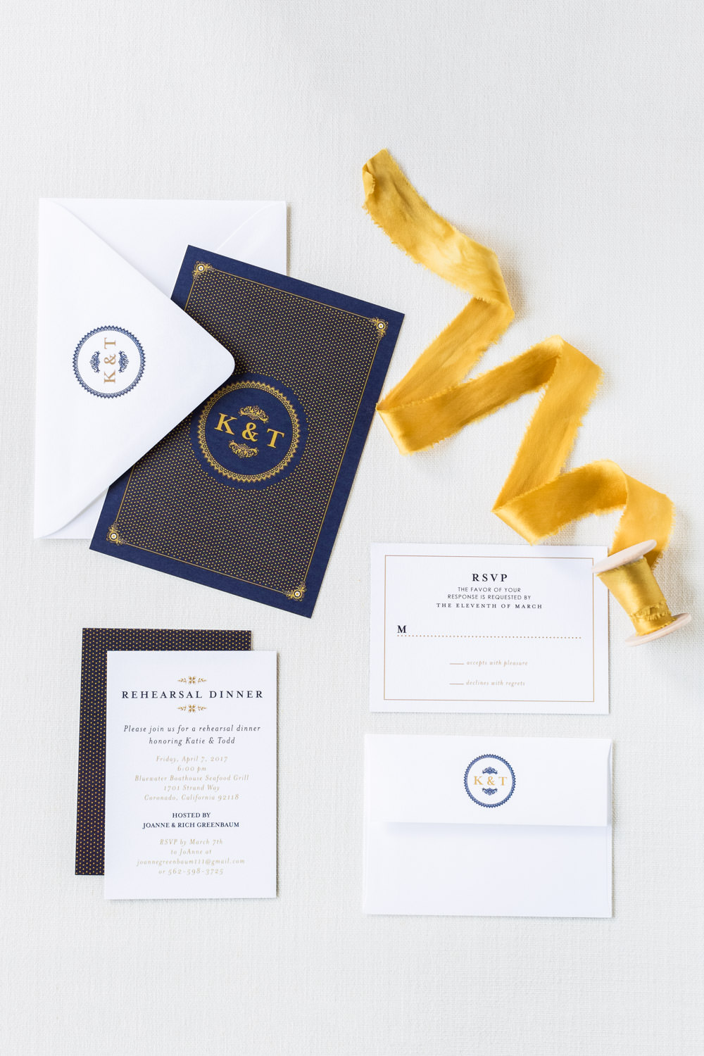 Navy white and gold wedding invitation suite with gold styling ribbon, Cavin Elizabeth Photography