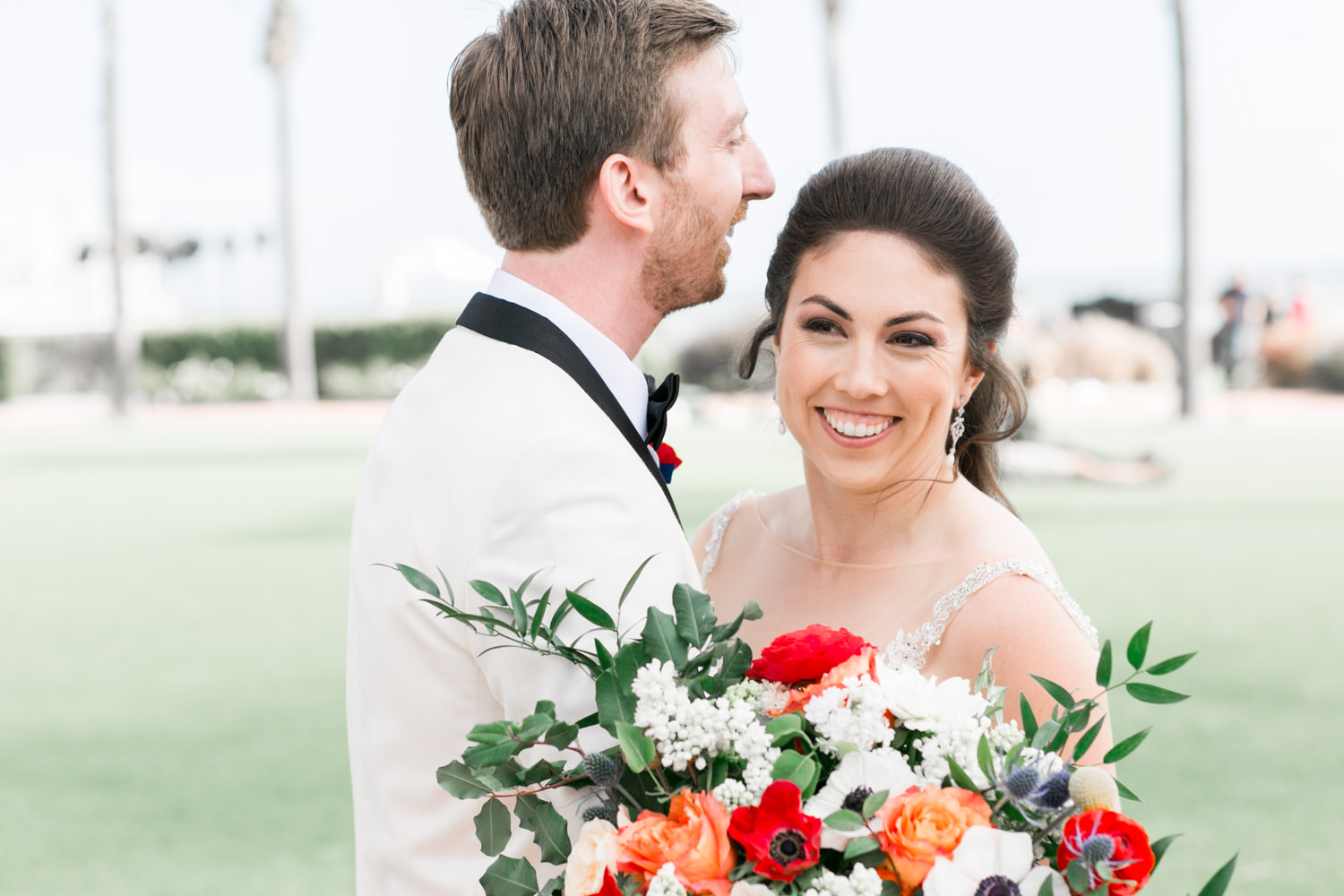 Bride and groom candid portrait at the Hotel del CoronadoHotel del Coronado wedding first look, Cavin Elizabeth Photography