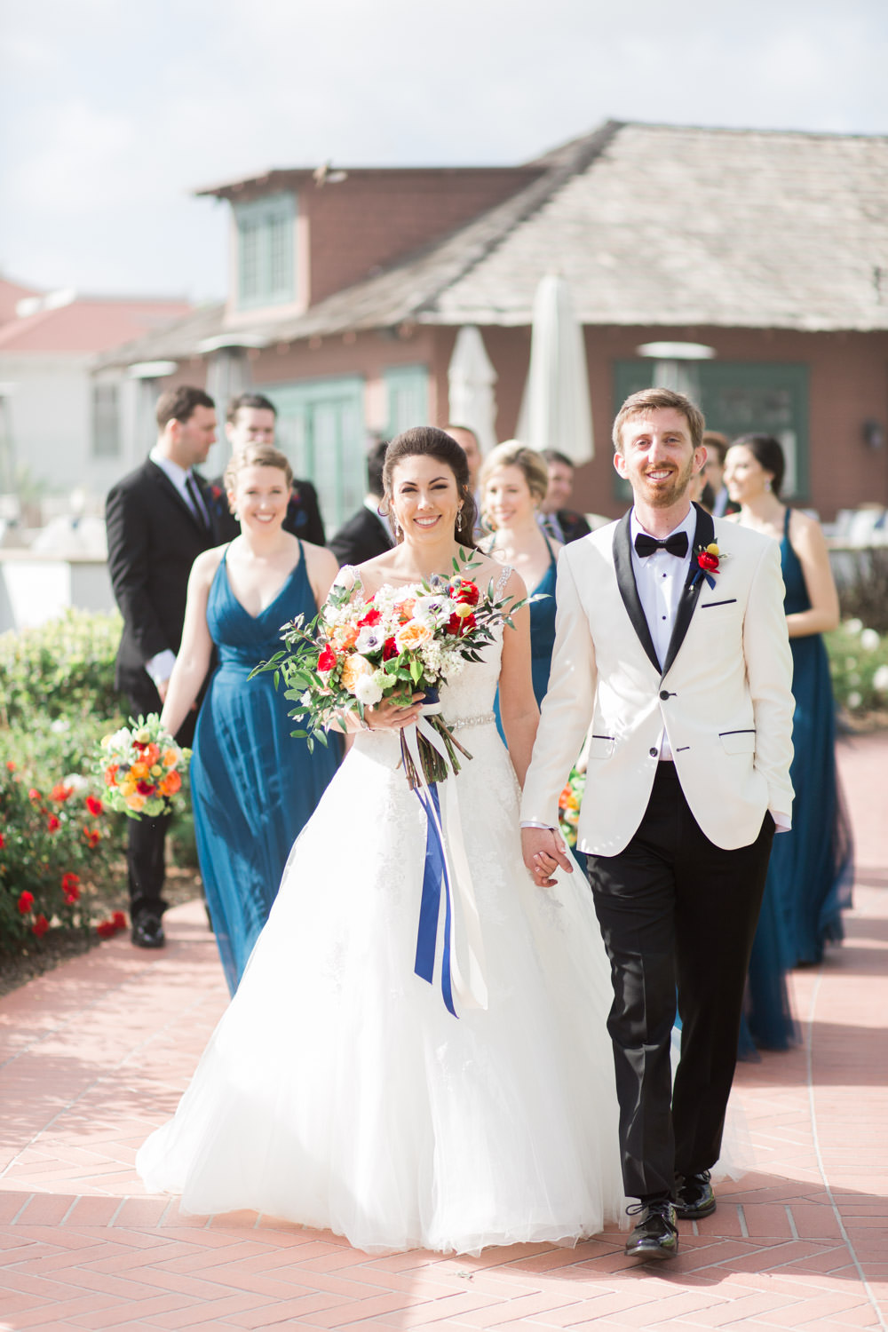 Bridal party portraits at the Hotel del CoronadoHotel del Coronado wedding first look, Cavin Elizabeth Photography