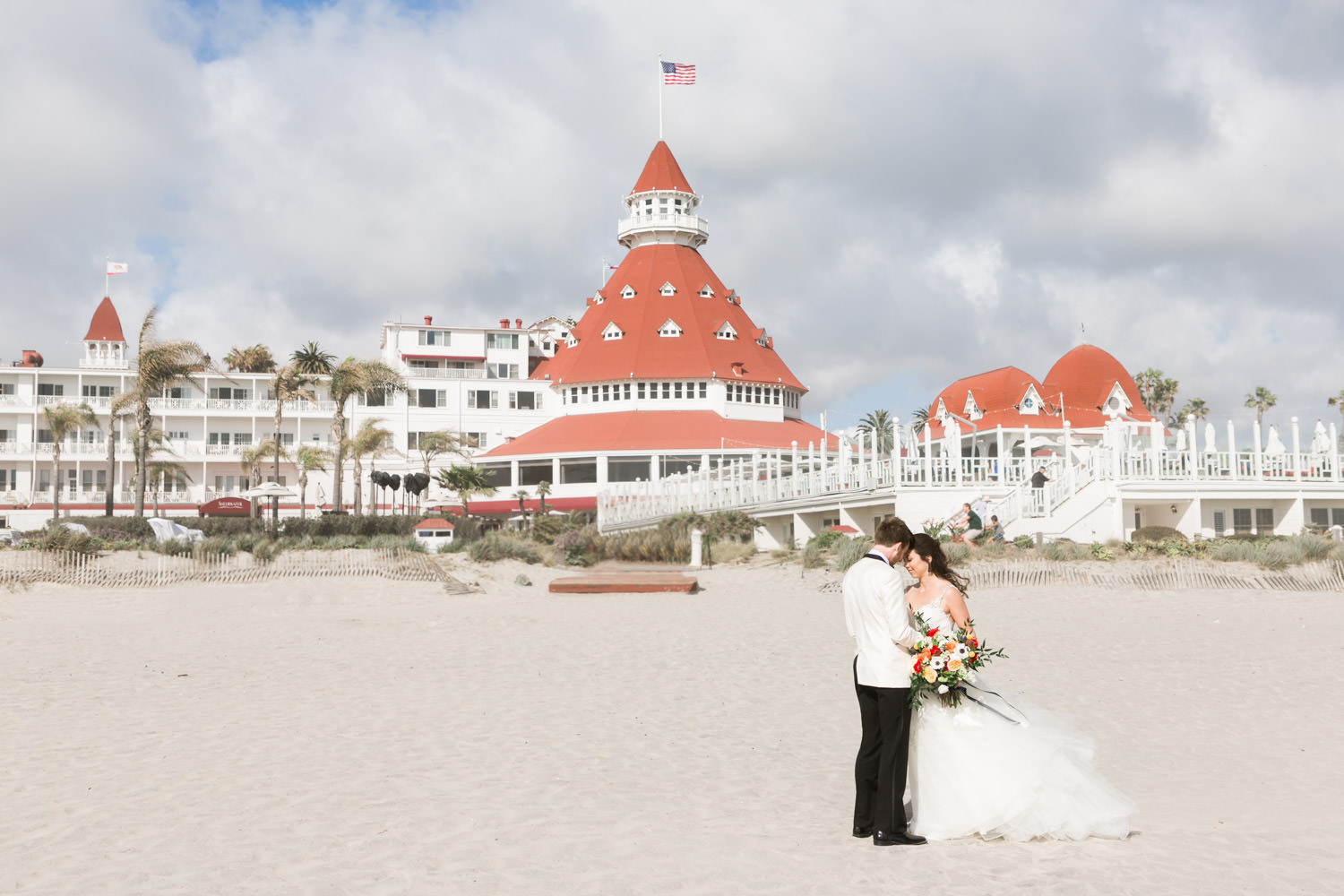 Bride and groom portrait on the beach at the Hotel del CoronadoHotel del Coronado wedding first look, Cavin Elizabeth Photography