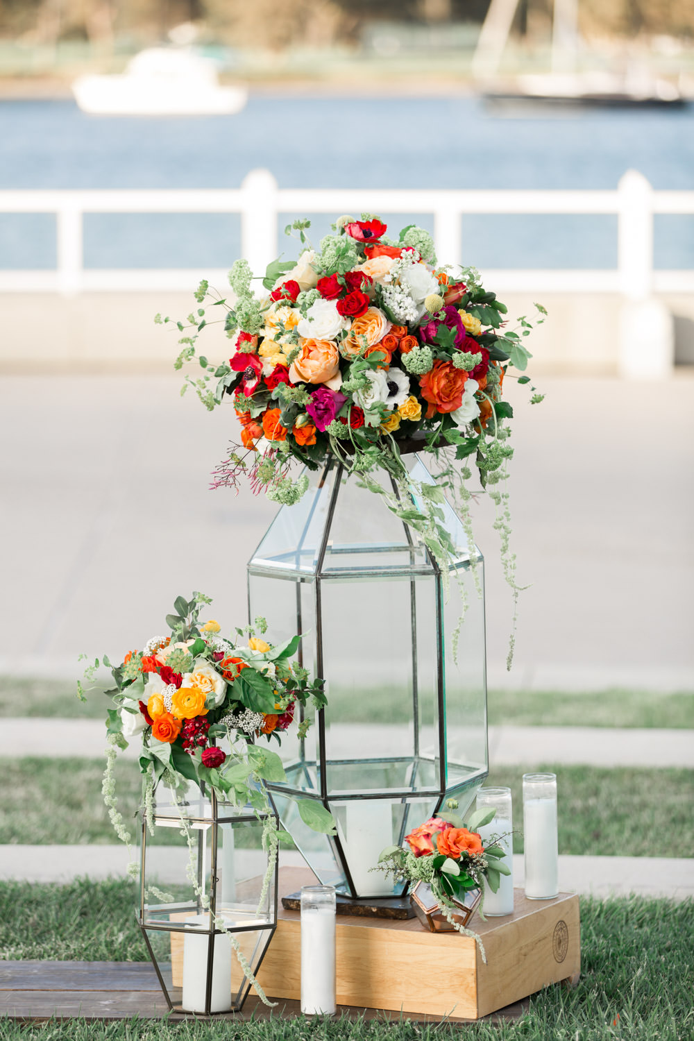 Coronado Community Center Wedding Ceremony, yellow peach red and green floral arrangements, Cavin Elizabeth Photography