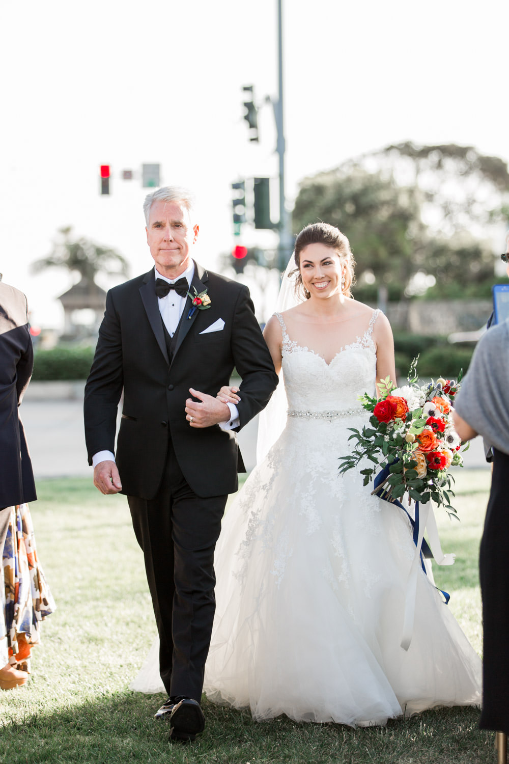 Father and bride walking down the aisle for a Coronado Community Center Wedding Ceremony, Cavin Elizabeth Photography