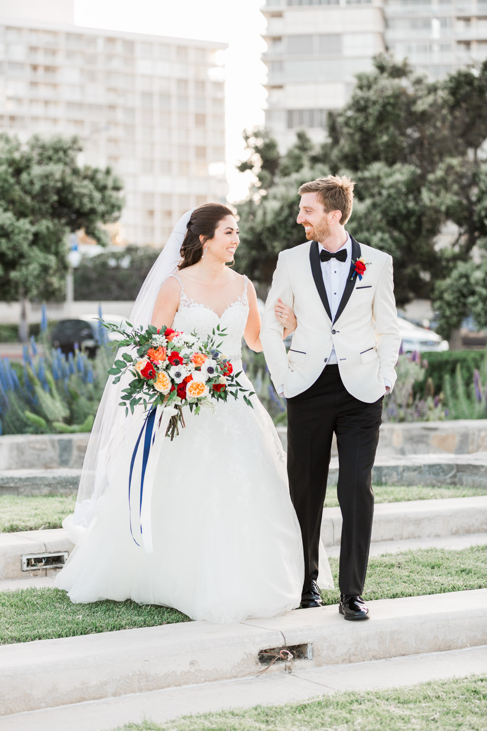Bride and groom portrait at the Coronado Community Center, Cavin Elizabeth Photography