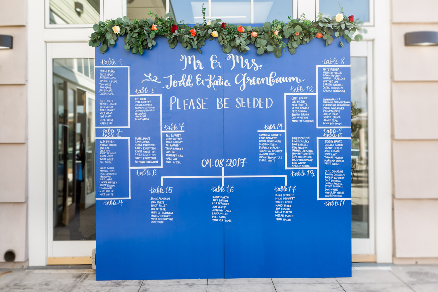 Blue custom painted seating chart for a wedding with greenery and colored flowers, sporting bracket style escort card sign, Cavin ELizabeth Photography