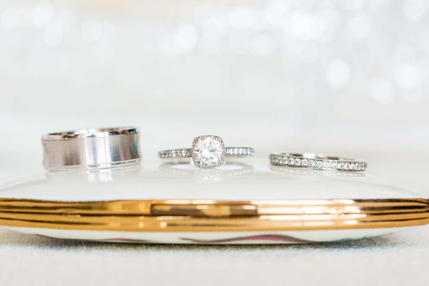 Wedding rings on vintage mirror case, wedding day ring shots with macro lens, Cavin Elizabeth Photography