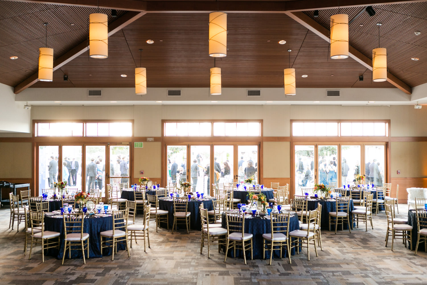 Coronado Community Center Wedding Reception By Coastyle Events Sophisticated Sports Vintage Themed Decor With Blue