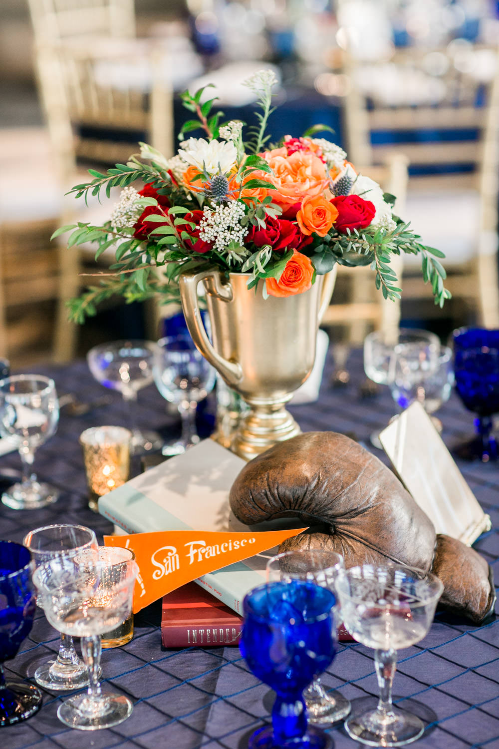 Coronado Community Center Wedding reception by Coastyle Events, sophisticated sports vintage themed decor with blue red yellow and peach and green, Cavin Elizabeth Photography