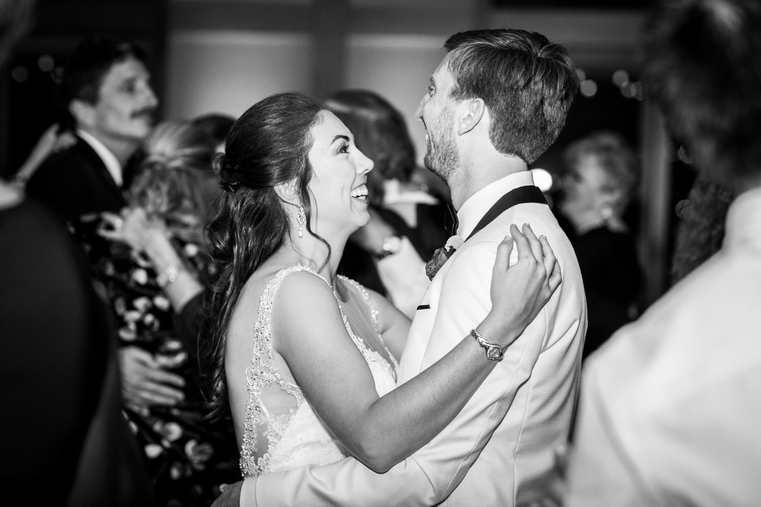Bride and groom dancing at their wedding reception at the Coronado Community Center, Cavin Elizabeth Photography