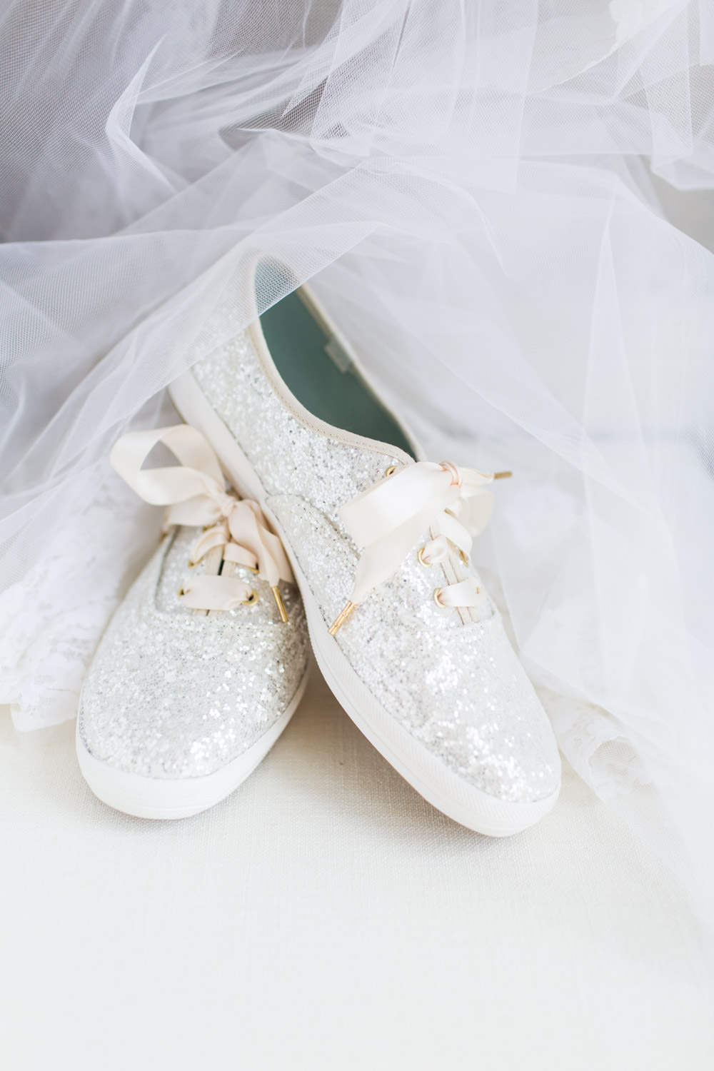 White glitter Kate Spade Keds for a bride at the Hotel del Coronado, Cavin Elizabeth Photography