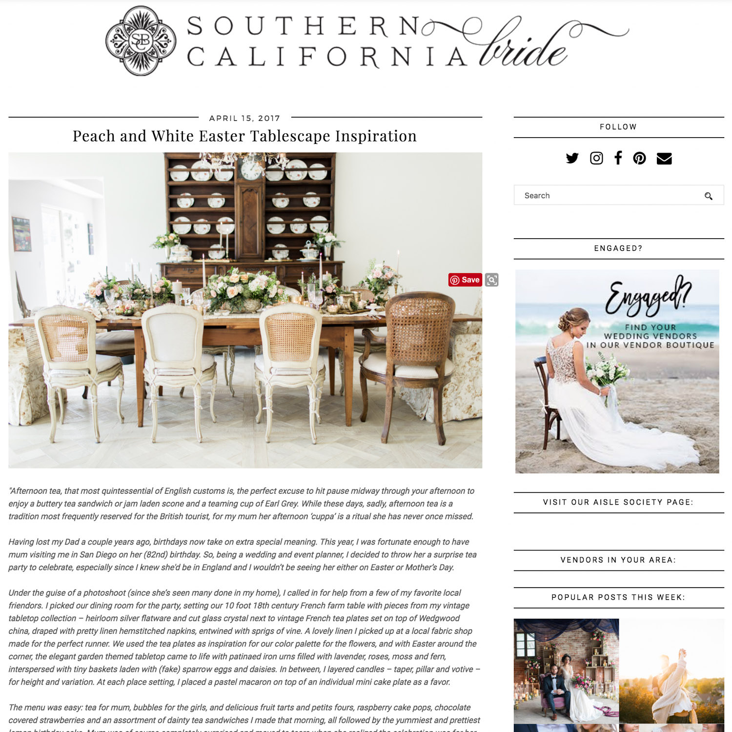 Fine Art Tea Luncheon inspiration Published on Southern California Bride