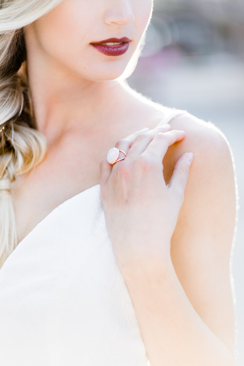 Bridal bold lip and rose gold moonstone ring for a Vizcaya Museum wedding, Cavin Elizabeth Photography