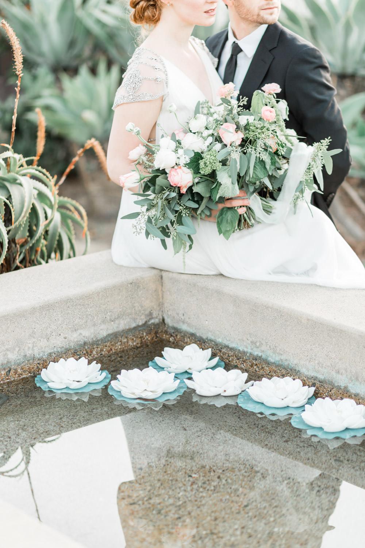 Succulent pond, Bride and groom at Estancia La Jolla, Cavin ELizabeth Photography