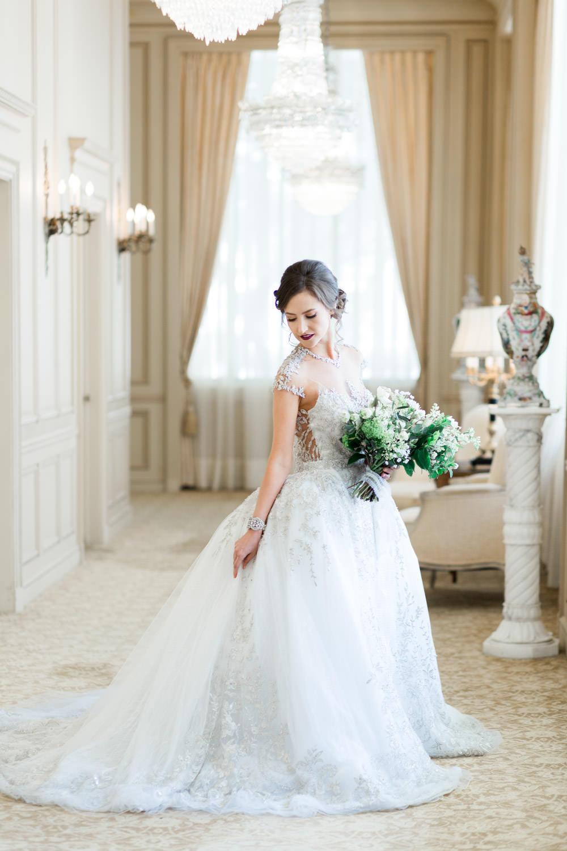 Royal bride in a YSA MAkino wedding gown, The Crown Inspired Westgate Hotel Wedding in San Diego by Cavin Elizabeth Photography