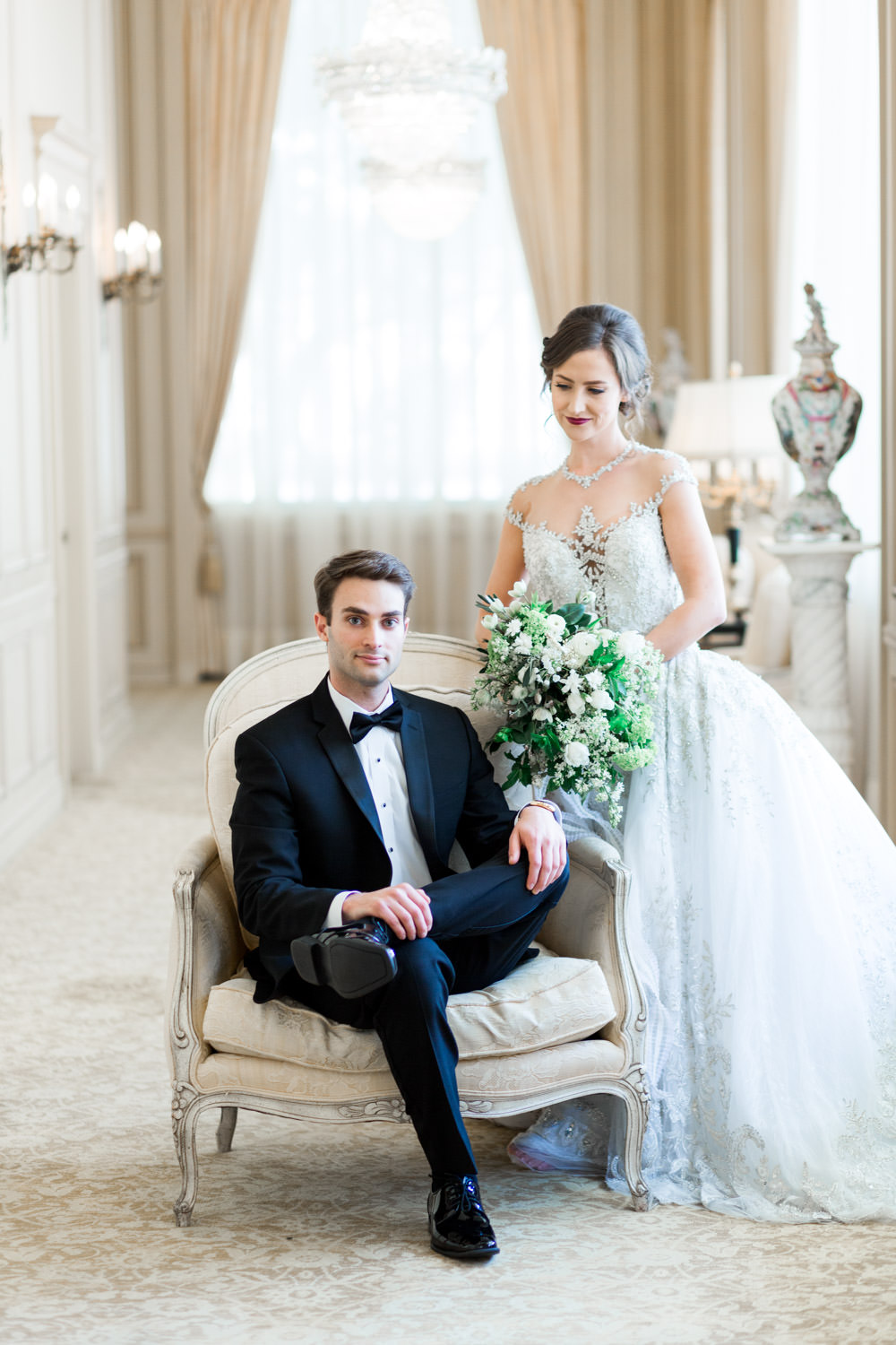 Royal groom and bride in a YSA MAkino wedding gown, The Crown Inspired Westgate Hotel Wedding in San Diego by Cavin Elizabeth Photography