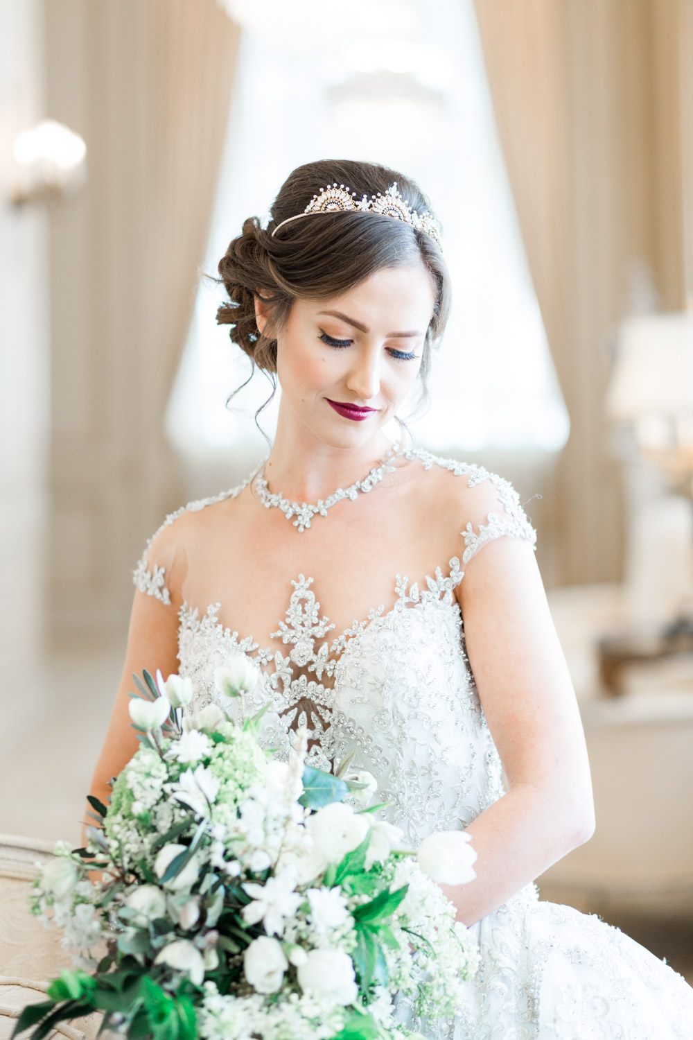 Royal bride in a YSA MAkino wedding gown, The Crown Inspired Westgate Hotel Wedding in San Diego by Cavin Elizabeth Photography
