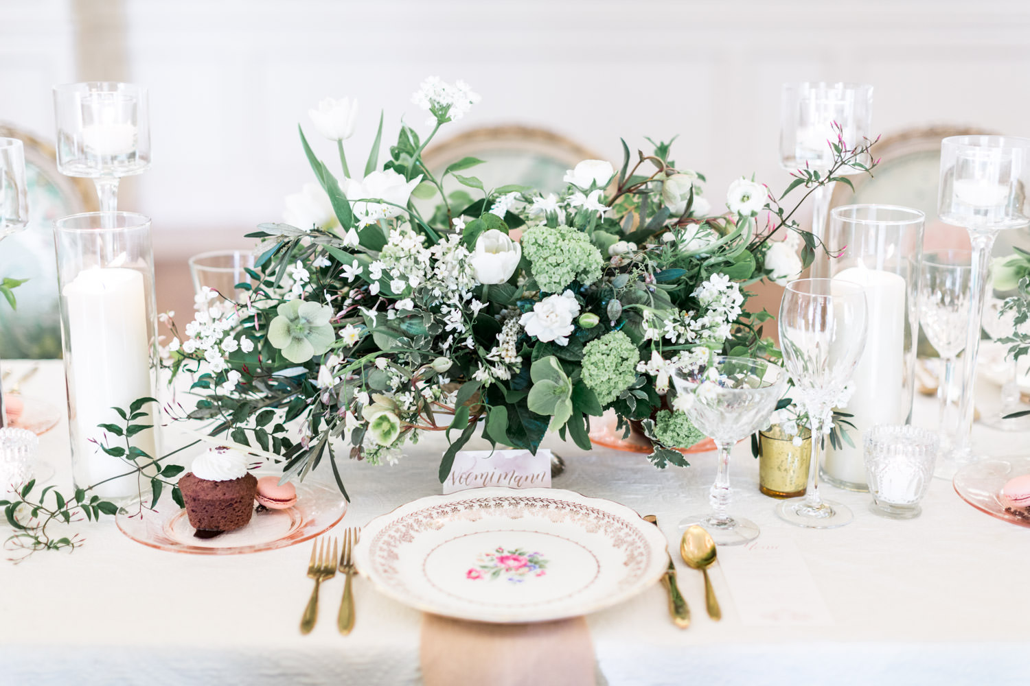 Regal wedding reception with white greem and rose gold with floral chairs, The Crown Inspired Westgate Hotel Wedding in San Diego by Cavin Elizabeth Photography