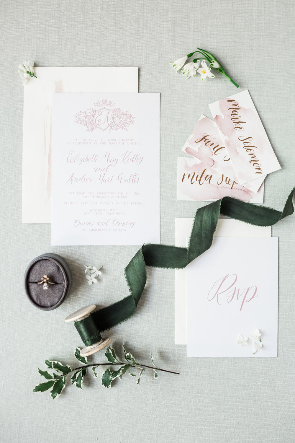 White rose gold and green invitation suite styling, The Crown Inspired Westgate Hotel Wedding in San Diego by Cavin Elizabeth Photography