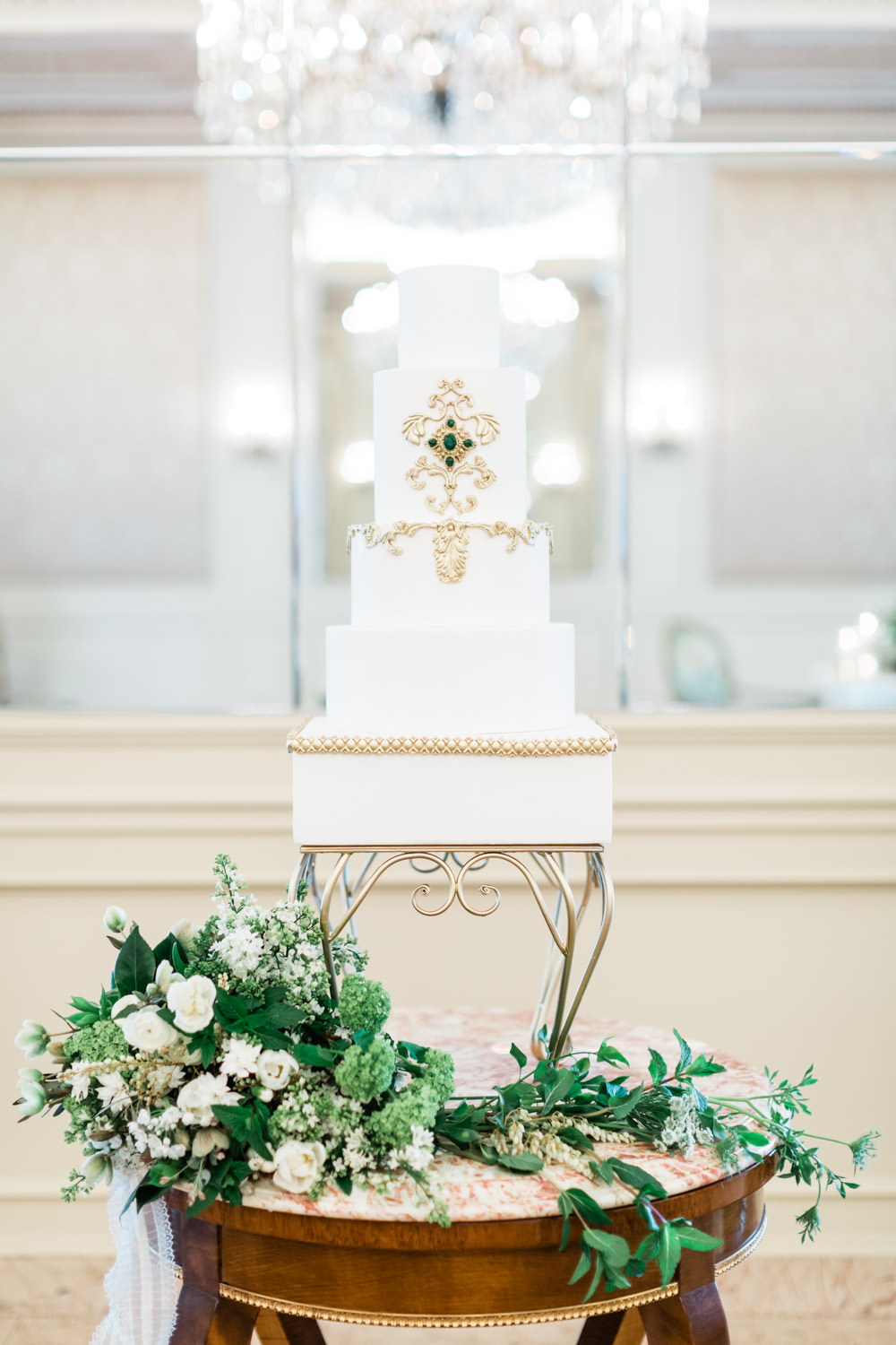 Regal royal white gold and emerald five tier wedding cake, The Crown Inspired Westgate Hotel Wedding in San Diego by Cavin Elizabeth Photography