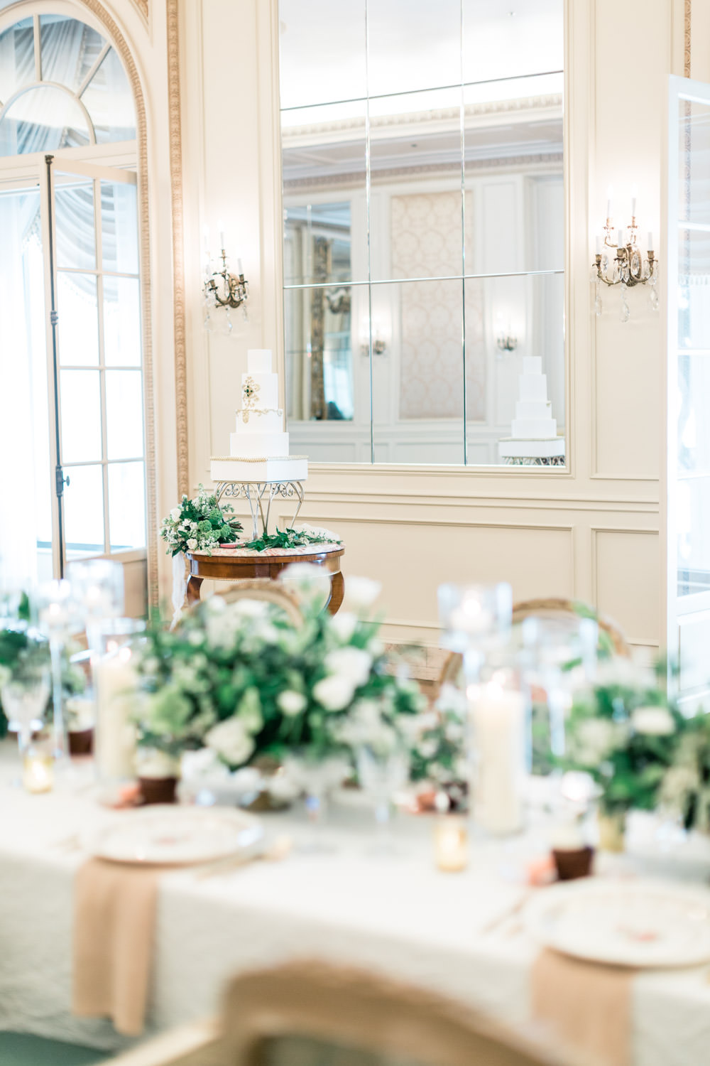 Five tier wedding cake in the reception room, The Crown Inspired Westgate Hotel Wedding in San Diego by Cavin Elizabeth Photography