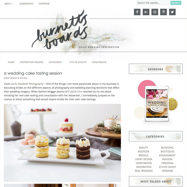 Bridal Cake Tasting Advice Published on Burnett's Boards