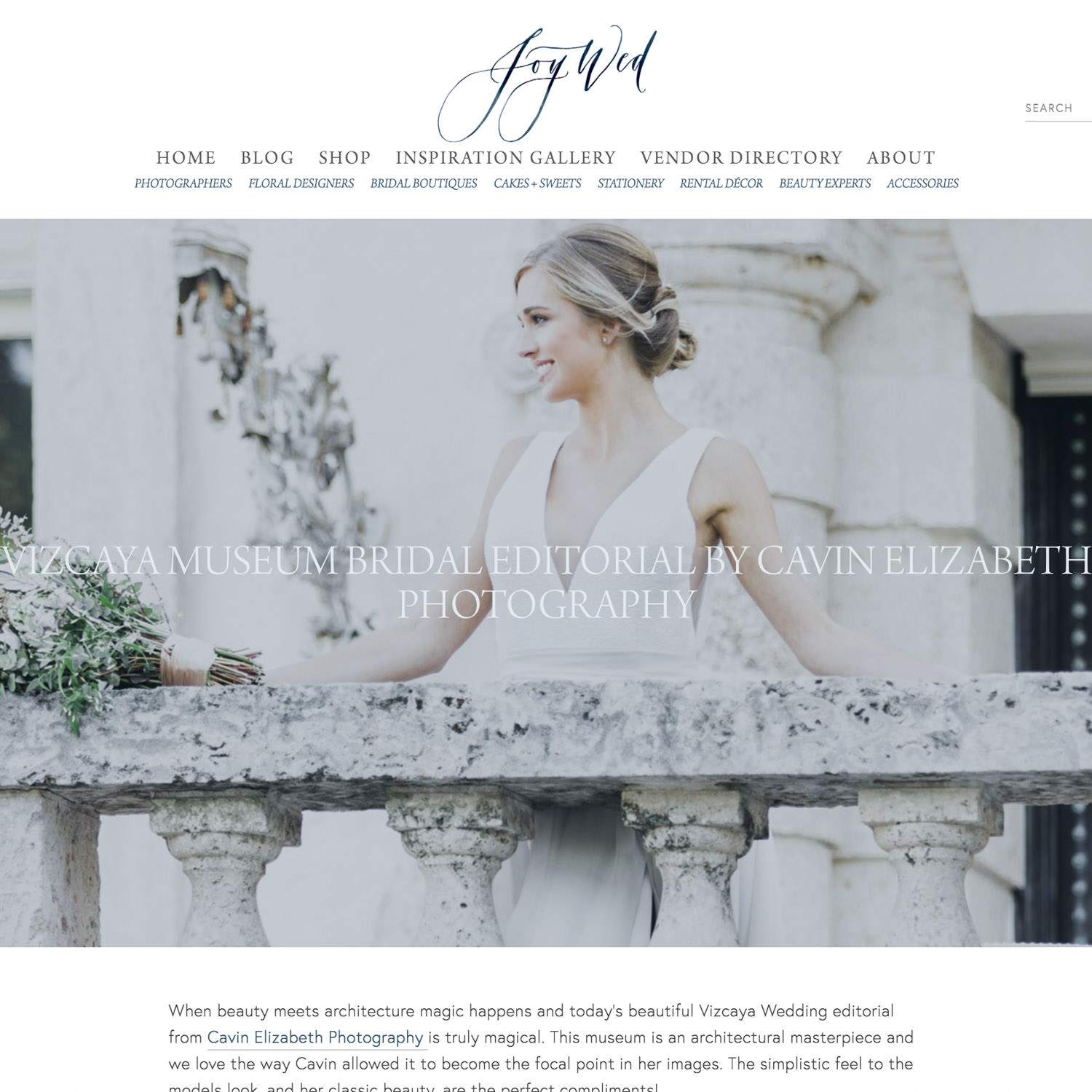 Miami Wedding Editorial at Vizcaya Museum Published on Joy Wed
