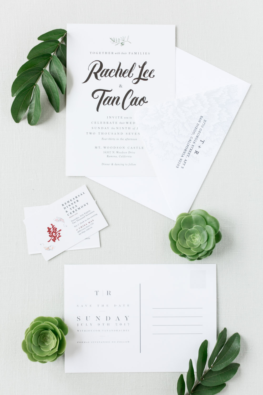 Modern white and black minimal invitations, Mt Woodson Castle Wedding by Cavin Elizabeth