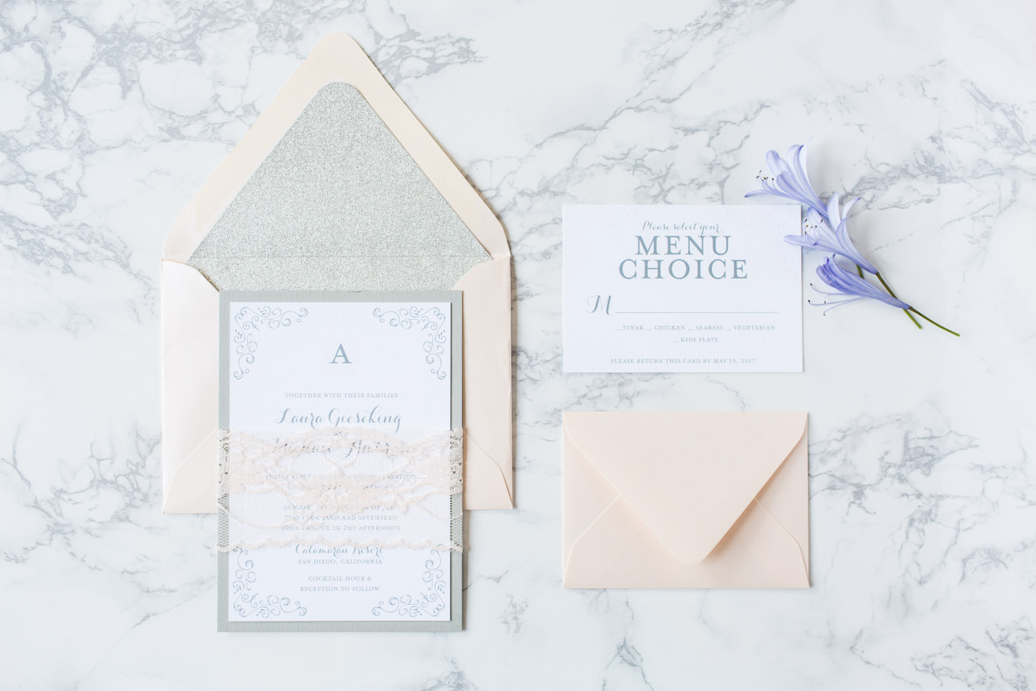 Blush gray and white wedding invitation suite, Intimate San Diego Catamaran Resort Wedding on Mission Bay by Cavin Elizabeth