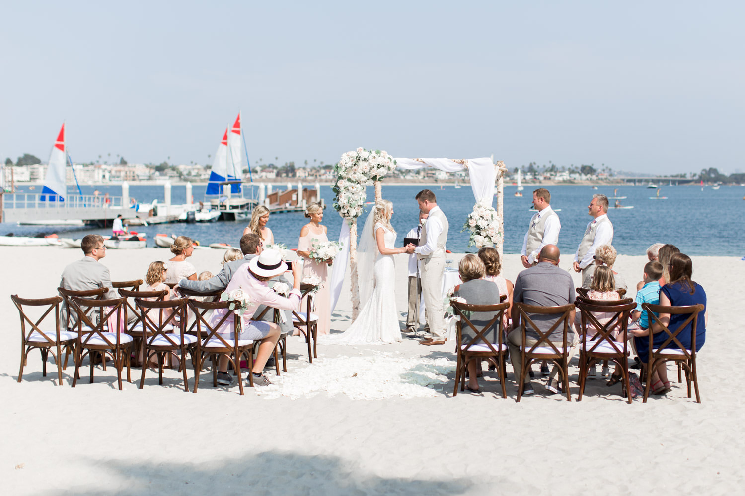Mission Bay ceremony, Intimate San Diego Catamaran Resort Wedding on Mission Bay by Cavin Elizabeth