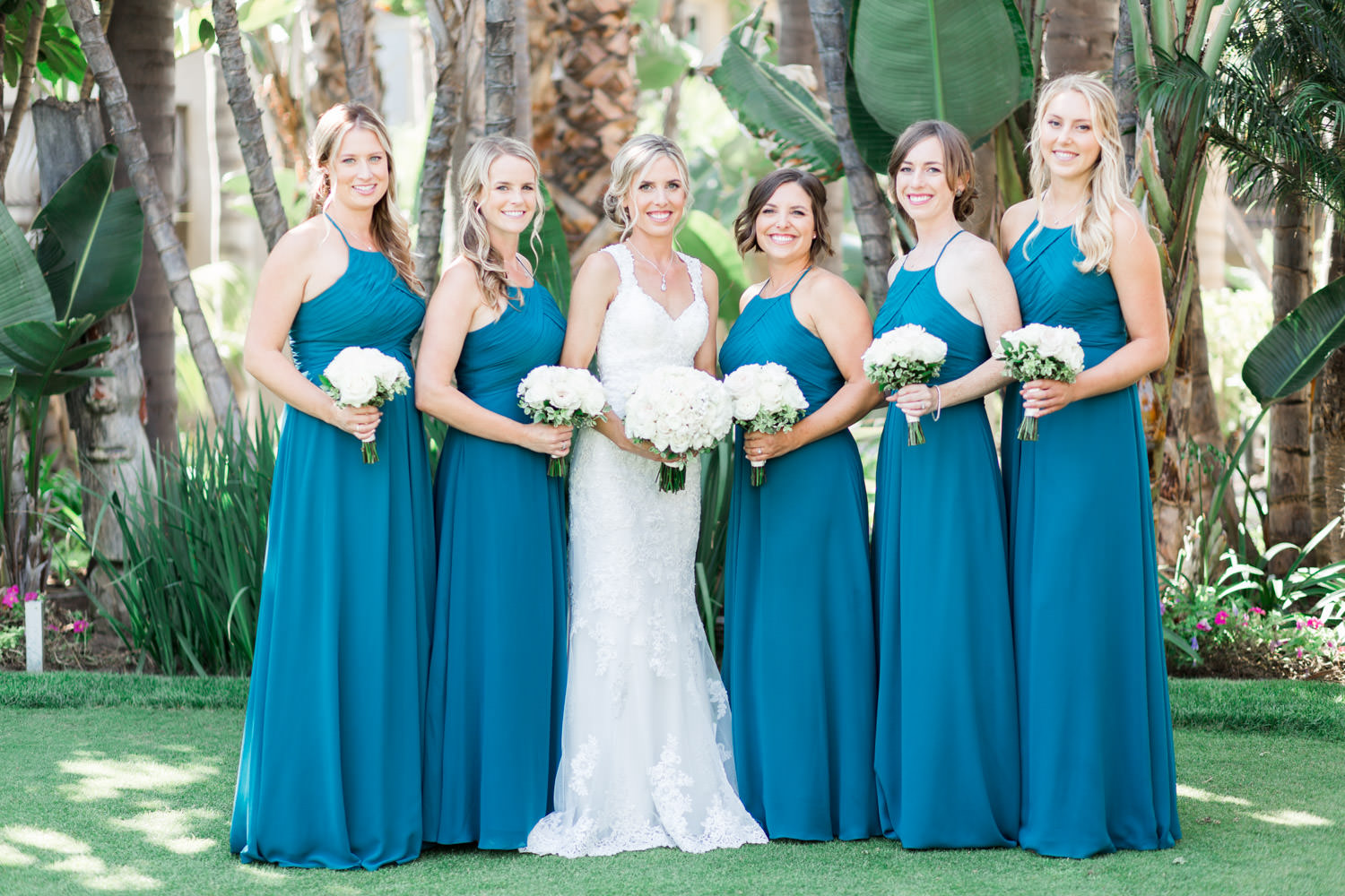 Bridesmaids in turquoise gowns, Cavin Elizabeth Photography