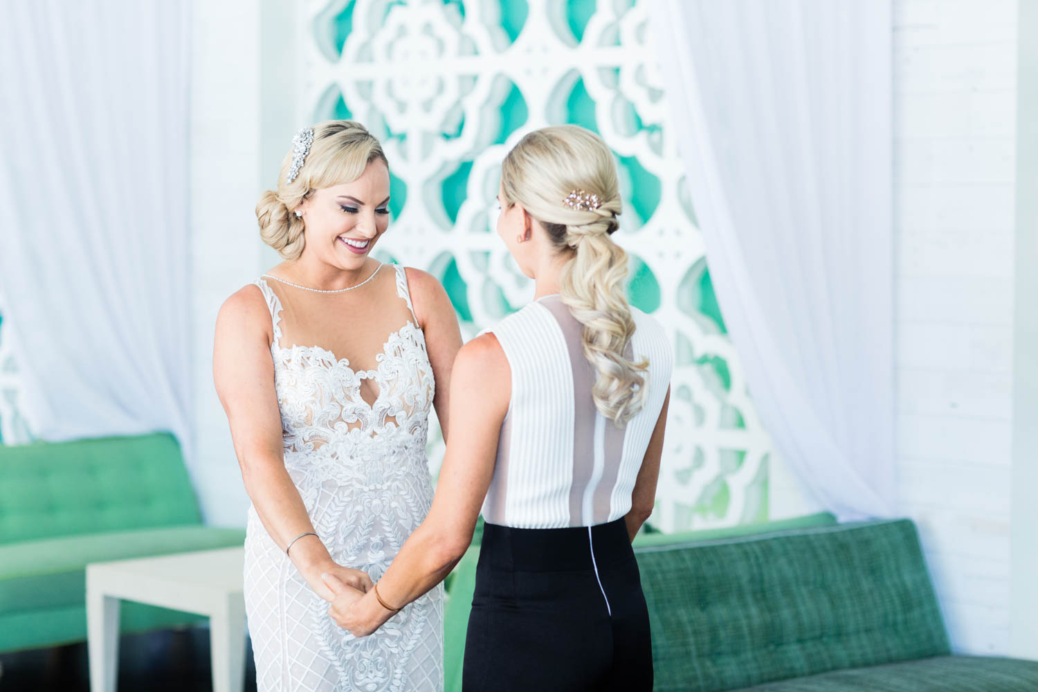 Riviera Palm Springs wedding first look with two brides, Cavin Elizabeth Photography