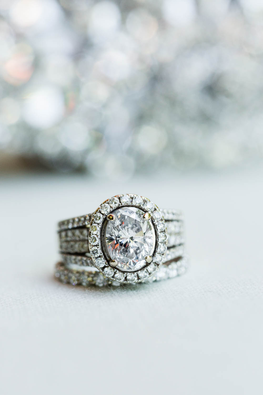 Large oval diamond engagement ring with halo, Cavin Elizabeth Photography