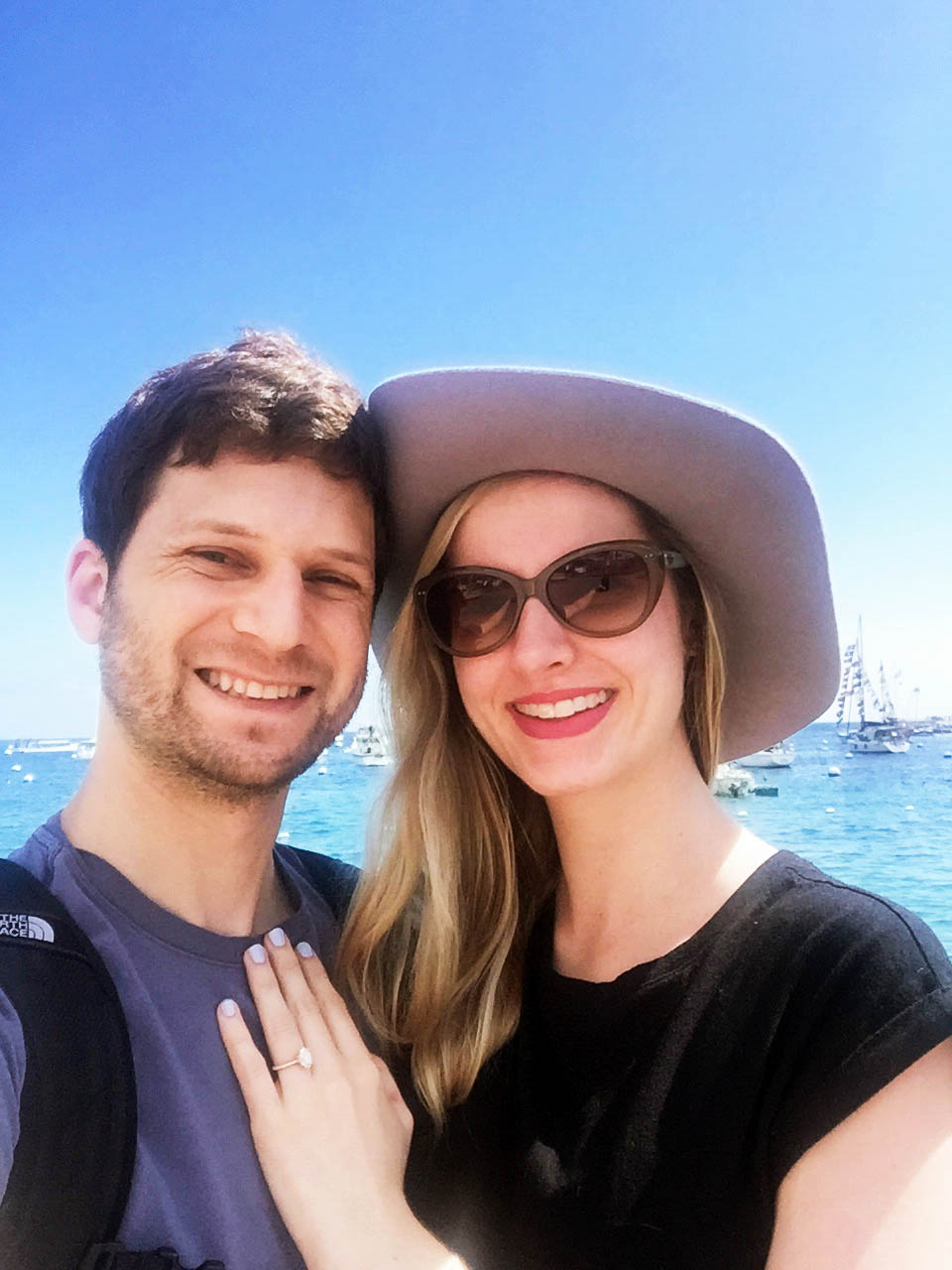 Cavin Elizabeth and David get engaged on Catalina Island, Jean Dousset Chelsea on Cavin Elizabeth, oval 2 carat engagement ring with rose gold band
