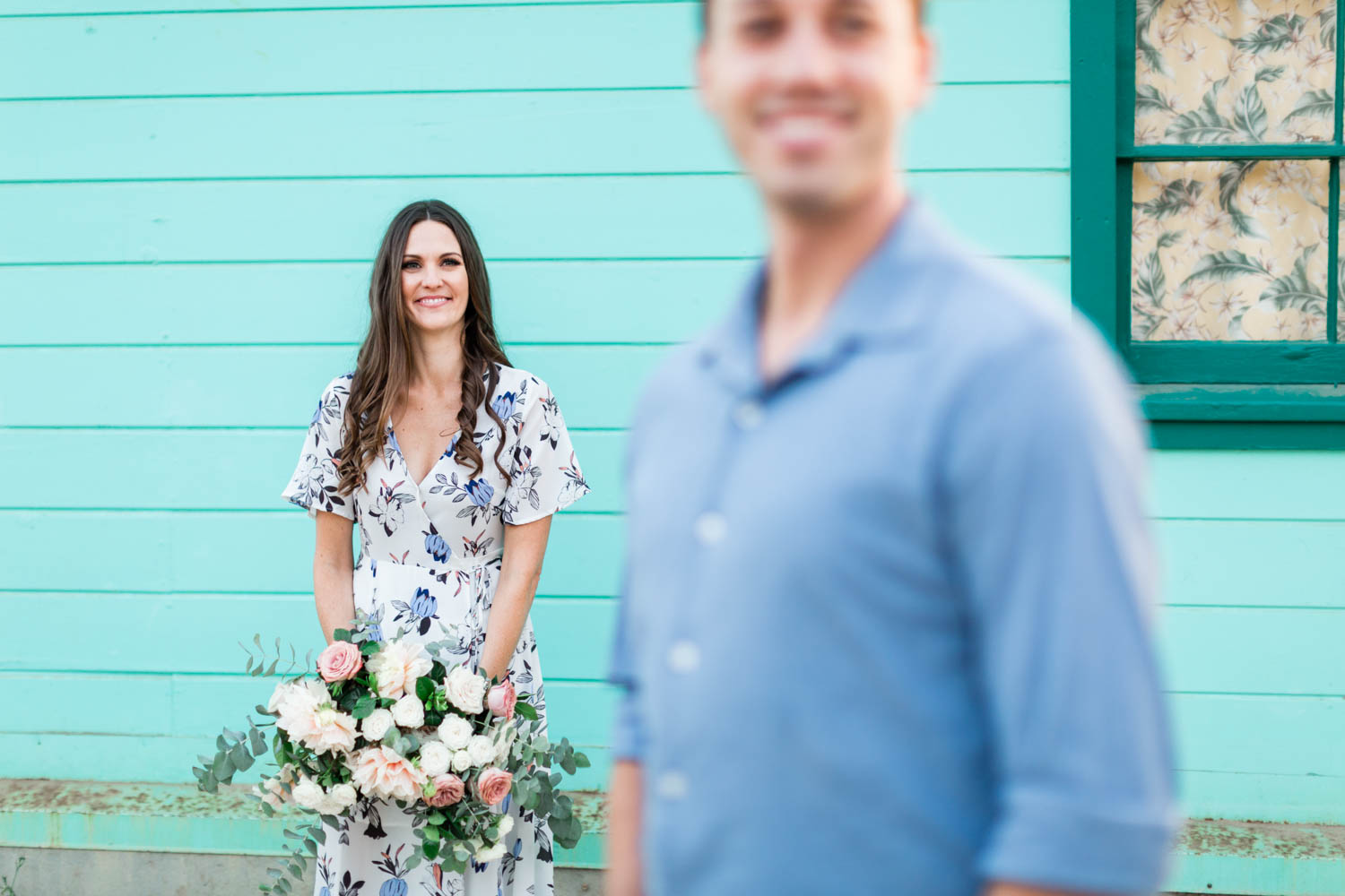 Compass Floral engagement bouquet for Newport Beach Engagement Photos at The Beachcomber by Cavin Elizabeth Photography