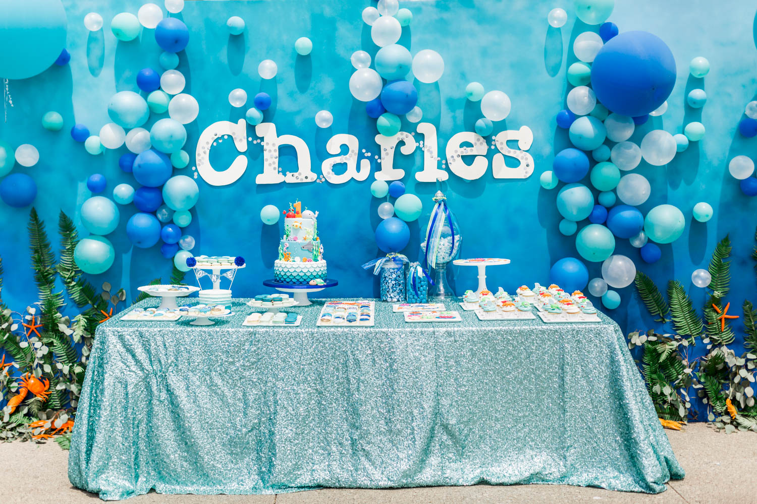 Dessert table for Under the Sea 1st birthday party with blue white and sea colors, Montage Laguna Beach Birthday Party, Cavin Elizabeth Photography + Details Details + Shawna Yamamoto