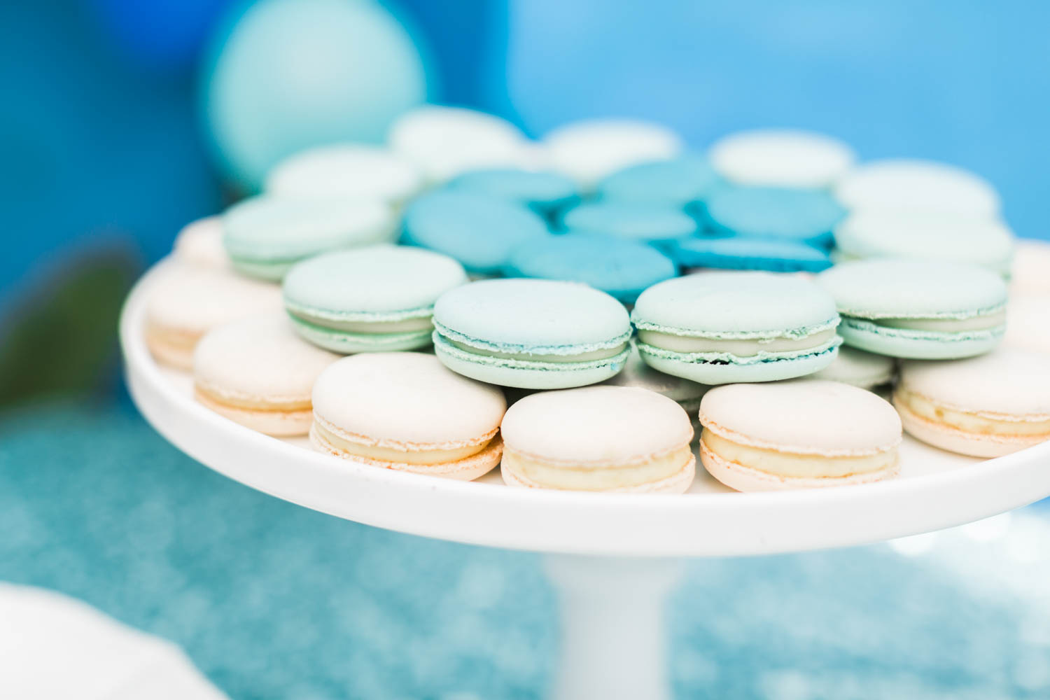 Macarons in white turquoise and mint, Under the Sea 1st birthday party with blue white and sea colors, Montage Laguna Beach Birthday Party, Cavin Elizabeth Photography + Details Details + Shawna Yamamoto