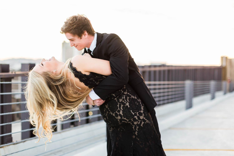 Birmingham Alabama rooftop formal engagement session during sunset, Cavin Elizabeth Photography