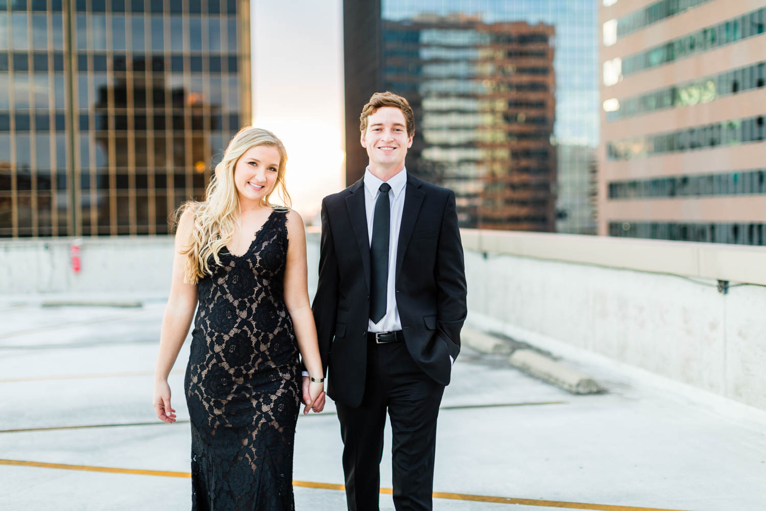 Birmingham Alabama rooftop formal engagement session during sunset, Cavin Elizabeth Photography